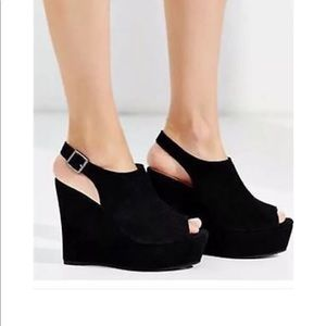 Black Jeffrey Campbell suede peep-toe wedges